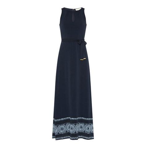 Sleeveless Patterned Hem Maxi Dress, ${color}