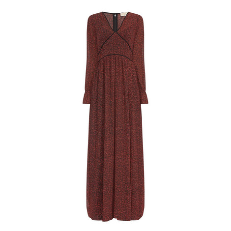 D3 V-Neck Printed Maxi Dress, ${color}