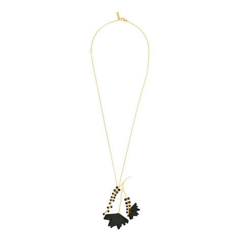 Leather Flower Pendant Necklace, ${color}