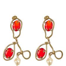 Pearl & Glass Hook Earrings