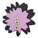 Leather Flower Brooch, ${color}
