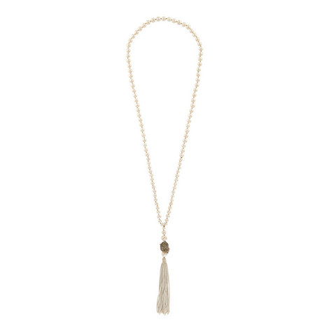 Pearl & Pyrite Tassel Necklace, ${color}