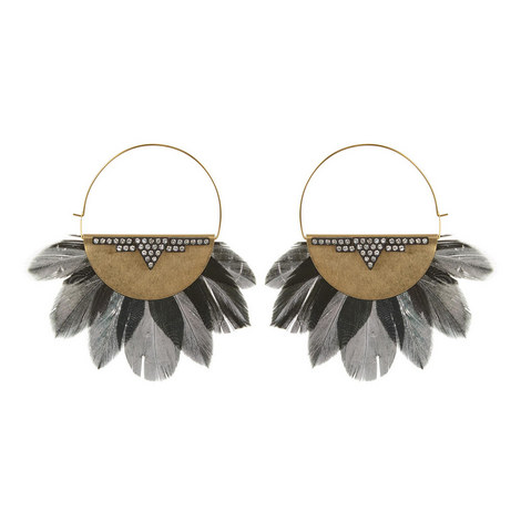 Feather Hoop Earrings , ${color}