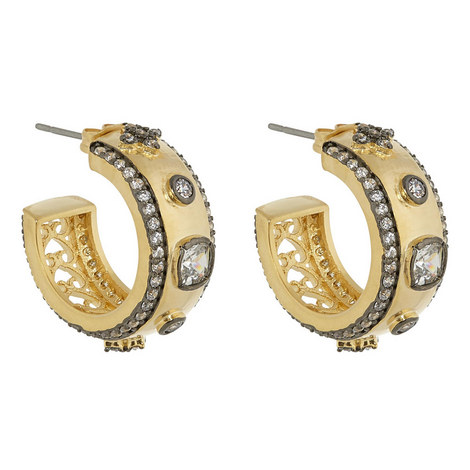 Embellished Hoop Earrings, ${color}
