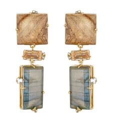 Geometric Stone Clip Earrings