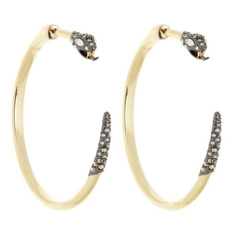 Crystal Snake Hoop Earrings, ${color}
