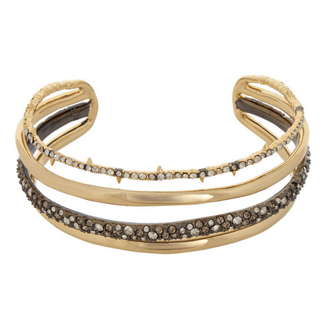 Crystal-Encrusted Orbiting Cuff Bracelet, ${color}