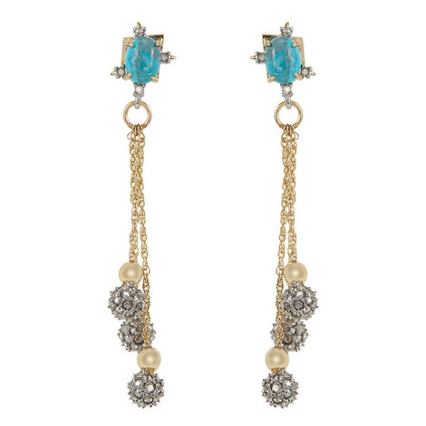 Crystal-Encrusted Bead Drop Earrings , ${color}
