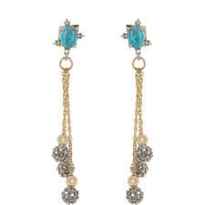 Crystal-Encrusted Bead Drop Earrings