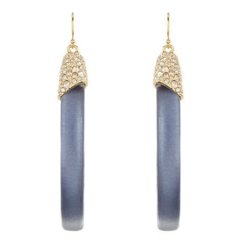 Pavé and Lucite Hoop Earrings, ${color}