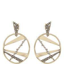 Crystal Plaid Medallion Earrings