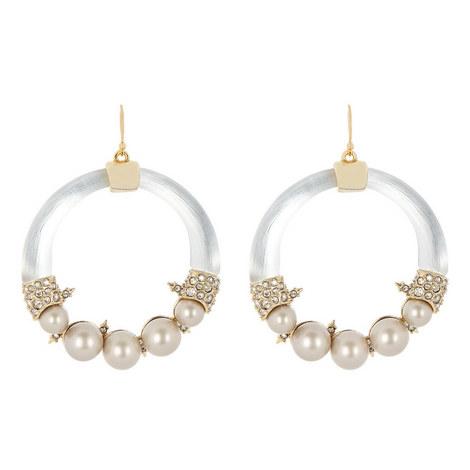 Pearl Hoop Wire Earrings, ${color}
