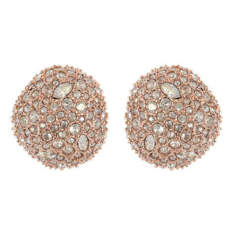 Crystal Pavé Stud Earrings, ${color}