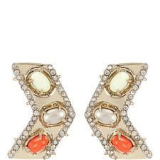 Chevron Cabochon Earrings
