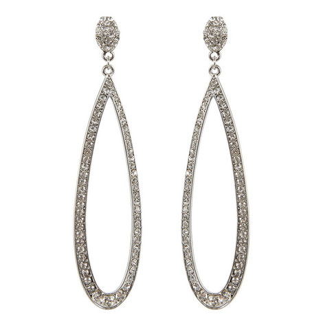 Crystal Open Teardrop Earrings, ${color}
