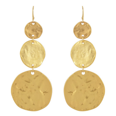 Hammered Disc Drop Earrings, ${color}