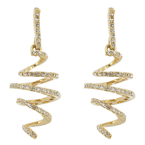 Crystal Pavé Spiral Earrings, ${color}