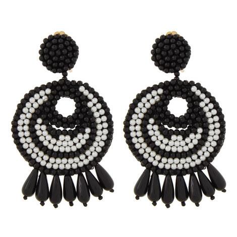 Beaded Pearl Drop Earrings, ${color}