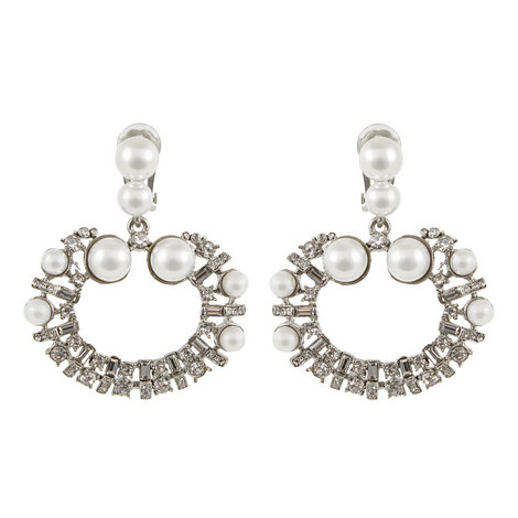 Pearl Open Circle Earrings, ${color}