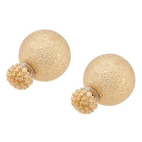 Textured Double Ball Earrings, ${color}