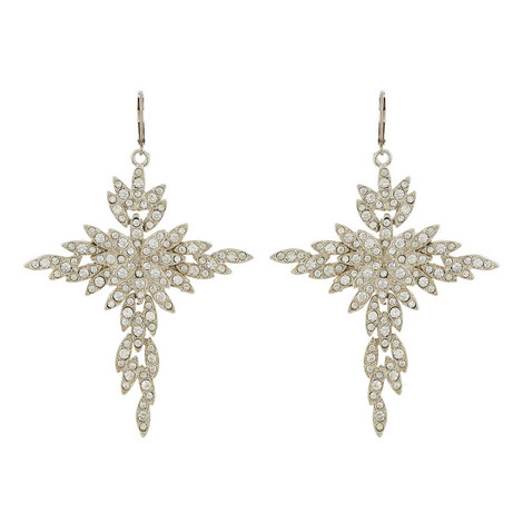 Crystal Cross Drop Earrings, ${color}