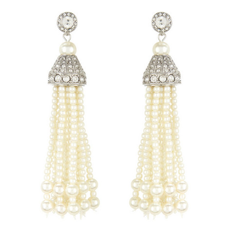 Faux Pearl Tassel Earrings, ${color}