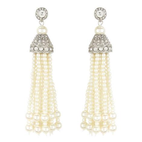 Faux Pearl Tassel Earrings, ${color}
