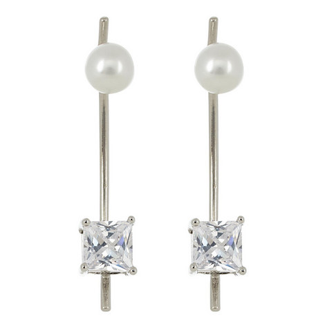 Square Crystal Pearl Drop Earrings, ${color}