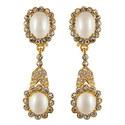 Pavé Pearl Antique Earrings, ${color}