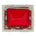 Ruby and Crystal Square Pin, ${color}