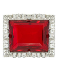 Ruby and Crystal Square Pin