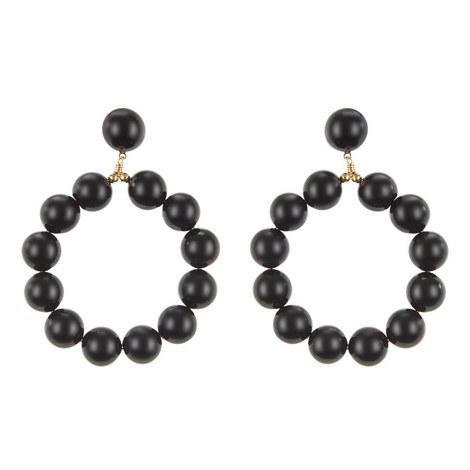Bead Hoop Earrings, ${color}