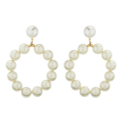 Bead Hoop Earrings , ${color}