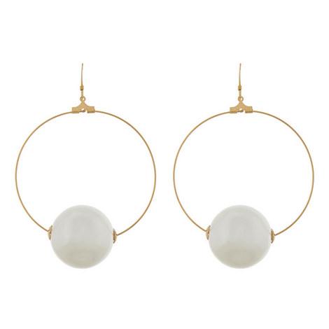 Pearl Ball Hoop Earrings, ${color}