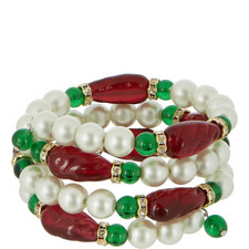 Pearl and Ruby Coil Bangle