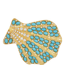 Bead Embellished Shell Brooch