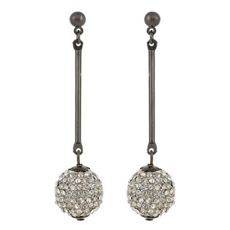 Pavé Crystal Ball Bar Earrings, ${color}