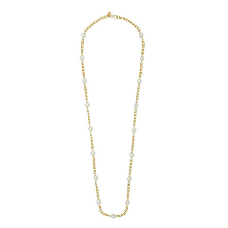 Small Pearl Chain Necklace, ${color}