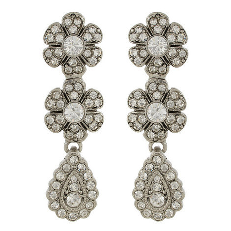 Floral Pavé Drop Earrings, ${color}