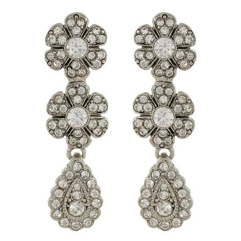 Floral Pavé Drop Earrings, ${color}