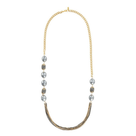 Hematite Station Chain Necklace, ${color}