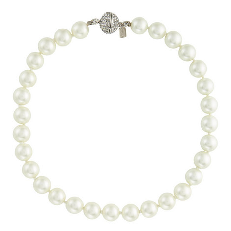 Crystal Pavé Ball Pearl Necklace, ${color}