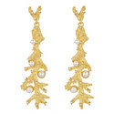 Sea Coral Pearl Embellished Earrings, ${color}