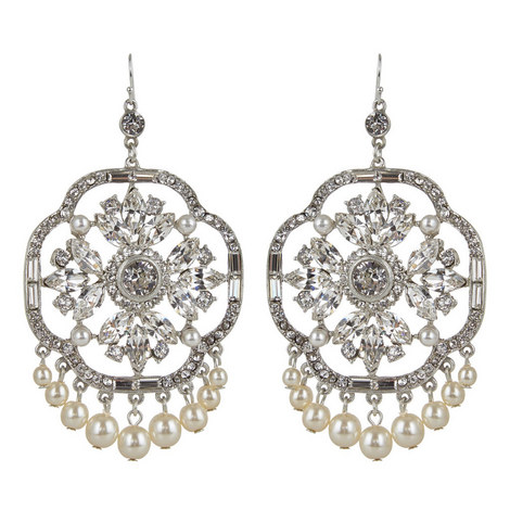 Floral Crystal Drop Earrings, ${color}