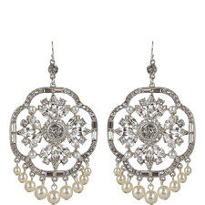 Floral Crystal Drop Earrings
