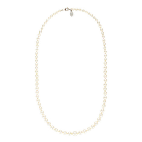 Single Strand Slim Pearl Necklace, ${color}