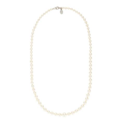 Single Strand Slim Pearl Necklace, ${color}