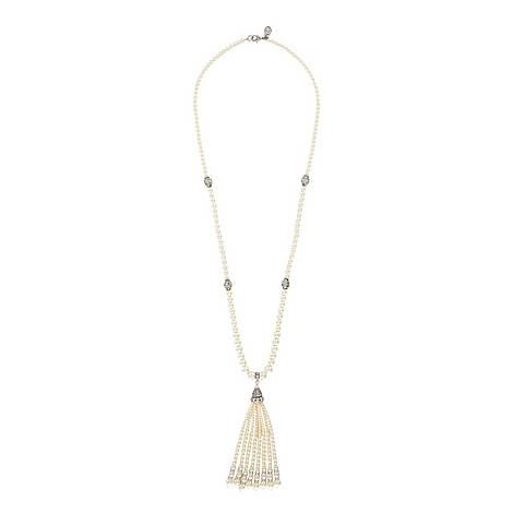 Long Pearl and Tassel Necklace, ${color}