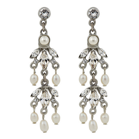 Crystal And Pearl Earrings, ${color}