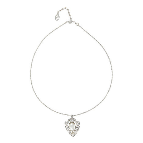 Crystal Pearl Drop Necklace, ${color}